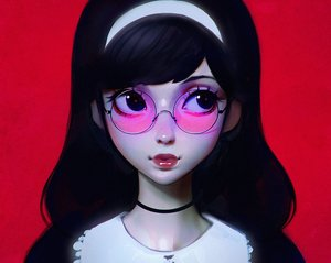 Rating: Safe Score: 116 Tags: black_eyes black_hair choker close cropped glasses headband ilya_kuvshinov original User: mattiasc02