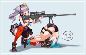 Rating: Safe Score: 128 Tags: 2girls a.i._channel aliasing amxysheep ass breasts brown_hair cleavage dress fang garter green_hair gun headband headphones japanese_clothes kaguya_luna kizuna_ai long_hair short_hair shorts the_moon_studio thighhighs twintails weapon User: FormX