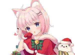 Rating: Safe Score: 55 Tags: animal_ears aqua_eyes bell blush braids cape catgirl christmas foreign_blue gloves original pink_hair santa_costume short_hair white User: HanaNeko