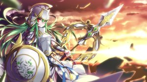 Rating: Safe Score: 98 Tags: armor athena_(p&d) green_hair hong_(white_spider) puzzle_&_dragons spear weapon User: FormX