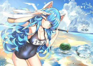 Rating: Safe Score: 62 Tags: animal animal_ears aqua_hair baseball_bat beach bird blush breasts bubbles cleavage clouds fang food fruit green_eyes long_hair original school_swimsuit signed sky slumcat swimsuit water watermelon wink User: BattlequeenYume