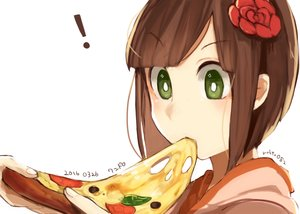 Rating: Safe Score: 55 Tags: brown_hair close food green_eyes hoodie original pizza routo short_hair signed white User: otaku_emmy