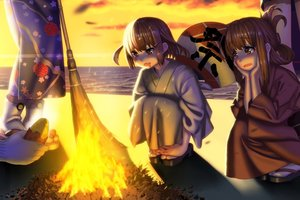 Rating: Safe Score: 11 Tags: anthropomorphism beach brown_eyes brown_hair clouds fire food japanese_clothes kantai_collection kimono misumi_(niku-kyu) short_hair sky socks sunset tagme_(character) water User: RyuZU