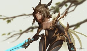 Rating: Safe Score: 59 Tags: bodysuit breasts brown_eyes brown_hair dao_trong_le horns long_hair original signed sword weapon User: BattlequeenYume
