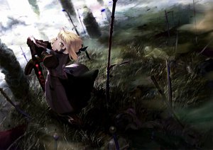Rating: Safe Score: 110 Tags: clouds fate/stay_night grass itachi_(3dt) saber saber_alter sword weapon User: FormX