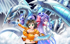 Rating: Safe Score: 23 Tags: black_hair breasts cleavage green_eyes navel original purple_eyes purple_hair ribbons stardust_dragon tagme_(artist) yu-gi-oh User: Septentrion_P