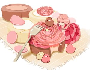 Rating: Safe Score: 21 Tags: animal bird cake chai_(artist) dress food original pink_hair polychromatic signed User: otaku_emmy