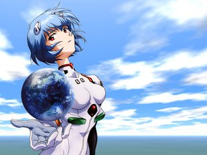 Rating: Safe Score: 29 Tags: ayanami_rei blue_hair bodysuit earth neon_genesis_evangelion planet red_eyes skintight sky User: haru3173