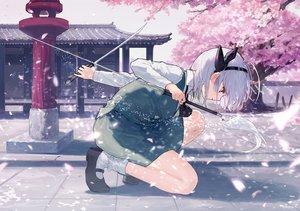 Rating: Safe Score: 71 Tags: cherry_blossoms headband katana konpaku_youmu petals shirt short_hair shrine skirt socks sword tagme_(artist) touhou tree weapon white_hair User: RyuZU