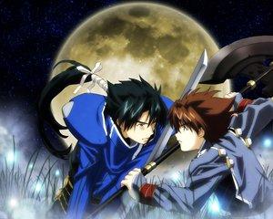 Rating: Safe Score: 1 Tags: christopher_bailaha moon scrapped_princess shannon_casull sword weapon User: Oyashiro-sama