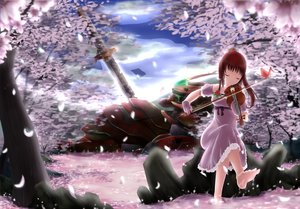 Rating: Safe Score: 100 Tags: cherry_blossoms flowers gloves instrument mecha original petals pinguin-kotak rose sky sword violin weapon User: humanpinka
