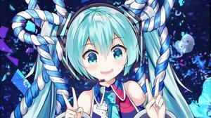 Rating: Safe Score: 33 Tags: aqua_eyes aqua_hair close hatsune_miku headphones long_hair microphone mikuning rope tie twintails vocaloid User: RyuZU