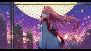Rating: Safe Score: 97 Tags: aqua_eyes darling_in_the_franxx headband horns ji_dao_ji long_hair moon pink_hair rooftop scarf skirt zero_two User: RyuZU