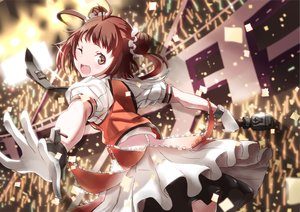 Rating: Safe Score: 71 Tags: anthropomorphism brown_eyes brown_hair gloves kantai_collection microphone naka_(kancolle) tie tsuuhan wink User: Flandre93