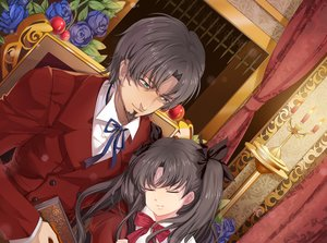Rating: Safe Score: 19 Tags: black_hair book fate_(series) fate/stay_night fate/zero fire flowers hongmao loli long_hair male ribbons short_hair sleeping tohsaka_rin tohsaka_tokiomi twintails User: RyuZU