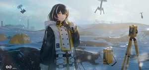Rating: Safe Score: 47 Tags: arknights black_hair gloves hoodie magallan_(arknights) mask robot sakpi scenic short_hair signed snow yellow_eyes User: Nepcoheart