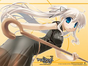 Rating: Safe Score: 27 Tags: blue_eyes chinese_dress long_hair mabinogi nao staff thighhighs twintails white_hair User: Oyashiro-sama
