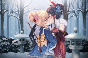 Rating: Safe Score: 76 Tags: 2girls black_hair blonde_hair flowers forest hajin hakurei_reimu hat japanese_clothes kimono kirisame_marisa kiss lolita_fashion orange_eyes ponytail short_hair shoujo_ai snow touhou tree winter witch witch_hat User: RyuZU