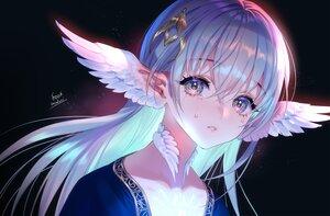 Rating: Safe Score: 67 Tags: aqua_hair choker close crying feathers foo_midori long_hair original pointed_ears signed tears wings User: otaku_emmy