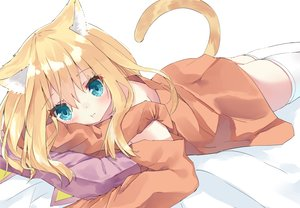Rating: Safe Score: 40 Tags: animal_ears aqua_eyes bed blonde_hair blush catgirl cropped hamaru_(s5625t) long_hair original tail thighhighs zettai_ryouiki User: otaku_emmy