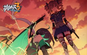Rating: Safe Score: 51 Tags: 2girls boots bronya_zaychik brown_eyes brown_hair clouds elbow_gloves gloves gun honkai_impact logo sky sunset tagme_(artist) tagme_(character) tears twintails weapon wings User: RyuZU