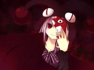 Rating: Safe Score: 95 Tags: dark game_cg gore_screaming_show hat mask purple purple_eyes red_eyes User: humanpinka