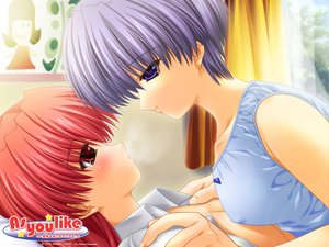 Rating: Questionable Score: 33 Tags: as_you_like blue_eyes blue_hair blush red_eyes red_hair short_hair tears yuri User: Oyashiro-sama