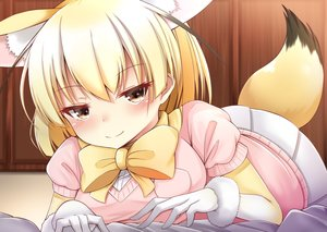 Rating: Safe Score: 43 Tags: animal_ears anthropomorphism blonde_hair blush bow breasts brown_eyes fennec_(kemono_friends) foxgirl gloves kemono_friends short_hair skirt tagme_(artist) tail User: RyuZU