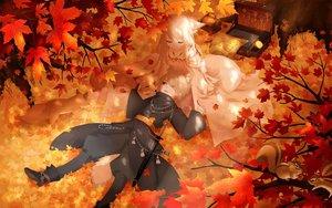 Rating: Safe Score: 39 Tags: animal animal_ears autumn black_eyes blonde_hair book braids fox foxgirl leaves long_hair male mimi_(tetoru09) original short_hair sword tail weapon User: RyuZU