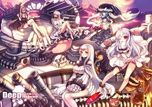 Rating: Safe Score: 72 Tags: anthropomorphism aqua_eyes aqua_hair barefoot battleship_hime black_hair bodysuit breasts cleavage dress eva200499 gloves group headdress horns kantai_collection long_hair midway_hime northern_ocean_hime orange_eyes panties seaport_hime underwear weapon white_hair wo-class_aircraft_carrier User: Flandre93