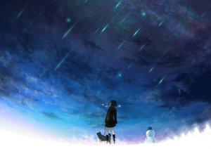 Rating: Safe Score: 216 Tags: animal dog kneehighs original scarf skirt sky snow snowman stars tokiti User: FormX