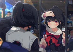 Rating: Safe Score: 188 Tags: black_hair blush male mirror ogipote original ponytail red_eyes reflection school_uniform User: sadodere-chan
