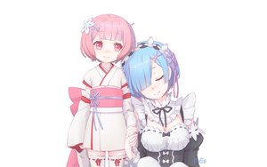 Rating: Safe Score: 50 Tags: 2girls blue_hair bow breasts headdress japanese_clothes loli pink_hair ram_(re:zero) red_eyes rem_(re:zero) re:zero_kara_hajimeru_isekai_seikatsu ribbons shanpao short_hair white User: RyuZU