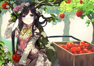 Rating: Safe Score: 16 Tags: ao_no_neko apple aqua_eyes black_hair flowers food fruit long_hair original tree User: mattiasc02