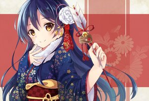 Rating: Safe Score: 148 Tags: bell blue_hair brown_eyes japanese_clothes kimono long_hair love_live!_school_idol_project nonono sonoda_umi User: Flandre93