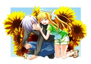 Rating: Safe Score: 33 Tags: air blonde_hair flowers gray_hair kamio_misuzu kunisaki_yukito mizumizu_shiina sunflower User: STORM