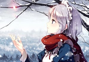 Rating: Safe Score: 73 Tags: apron close gray_hair headdress izayoi_sakuya ke-ta maid petals scarf snow touhou User: happyboat