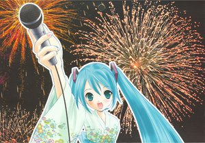 Rating: Safe Score: 21 Tags: aqua_eyes aqua_hair fireworks hapido hatsune_miku japanese_clothes jpeg_artifacts long_hair microphone scan twintails vocaloid yukata User: 秀悟
