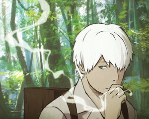 Rating: Safe Score: 33 Tags: all_male blue_eyes cigarette cropped forest ginko_(mushishi) ilya_kuvshinov male mushishi smoking tree white_hair User: mattiasc02