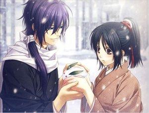 Rating: Safe Score: 44 Tags: hakuouki_shinsengumi_kitan japanese_clothes kazuki_yone kimono long_hair ponytail saitou_hajime snow yukimura_chizuru User: Moquerie