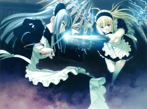 Rating: Safe Score: 44 Tags: 2girls anna blonde_hair carnevale_della_luce_della_luna chain gray_hair long_hair maid oosaki_shinya perla purple_eyes thighhighs wings yellow_eyes zettai_ryouiki User: anaraquelk2