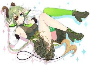 Rating: Safe Score: 43 Tags: aqua_eyes blush boots braids cross demon dress eyepatch green_hair honey_strap horns kusumoto_shizuru long_hair ponytail sekishiro_mico tail thighhighs tie User: BattlequeenYume
