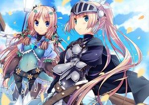 Rating: Safe Score: 134 Tags: 2girls armor blue_eyes cape flowers kuwashima_rein long_hair petals pink_hair ribbons User: opai