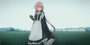 Rating: Safe Score: 77 Tags: animal building camera chihuri405 cow gloves grass landscape long_hair maid orange_eyes original pink_hair scenic sky tree User: luckyluna