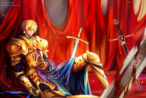 Rating: Safe Score: 29 Tags: armor blonde_hair blood fate_(series) fate/stay_night gilgamesh short_hair watermark weapon User: Animeticklesmytoes