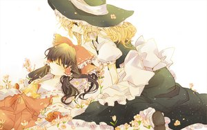 Rating: Safe Score: 46 Tags: 2girls blonde_hair dress flowers hakurei_reimu hat kirisame_marisa poprication sleeping touhou white User: opai