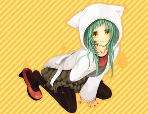 Rating: Safe Score: 155 Tags: cat_food_(vocaloid) green_hair hatsune_miku hiyo_kiki long_hair pantyhose skirt vocaloid yellow_eyes User: Maboroshi