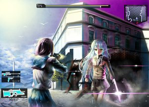 Rating: Safe Score: 96 Tags: 2girls angel_beats! animal aqua_hair bird clouds feng_ze gun knife long_hair nakamura_yuri purple_hair ribbons seifuku skirt sky tachibana_kanade tree weapon yellow_eyes User: ガラス