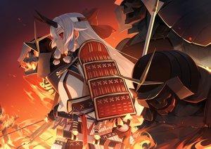 Rating: Safe Score: 42 Tags: armor blood fate/grand_order fate_(series) fire gray_hair horns jhc_kai katana long_hair red_eyes samurai signed sword tears tomoe_gozen weapon User: RyuZU