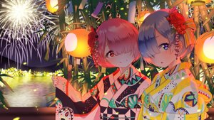Rating: Safe Score: 82 Tags: 2girls blue_eyes blue_hair building city festival fireworks headdress japanese_clothes matsukawa_li night pink_eyes pink_hair ram_(re:zero) rem_(re:zero) re:zero_kara_hajimeru_isekai_seikatsu short_hair sky tree twins water yukata User: RyuZU